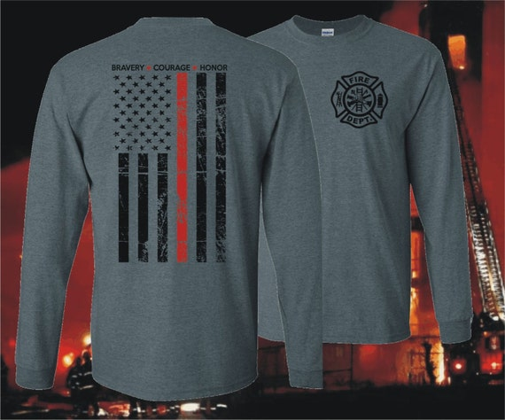 Thin red line firefighter firemen long sleeve t shirt for Thin long sleeve t shirts