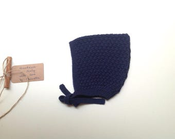 READY TO SHIP - 100% cashmere baby kid Pixie Bonnet  hat  color navy blue, hand knit size 0-3 months