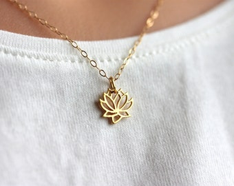 Petite Lotus Necklace, Gold Filled Chain, Delicate Jewelry