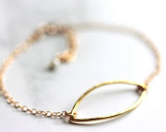 Geometric Bracelet, Modern Minimalist Bracelet, Gold Filled Chain, Simple Everyday Jewelry