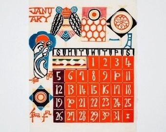 1969 January Calendar Print Keisuke Serizawa Mod Wood Block