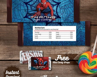 Spiderman Printable Candy Bar Wrapper, Spiderman Labels, Spiderman Birthday Party decoration, DIY, Spiderman Birthday, Superheroes