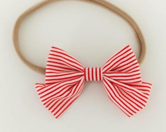 Red Striped Bow Headband for Newborn-24 months
