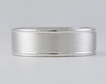Classic Mens White Gold Wedding Band - Matte Finish with Polished Edges 14k, Semi Comfort Fit