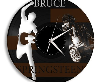 Repurposed Vintage Bruce Springsteen Record Clock - Rock and Roll Music Artist Wall Art, Unique Wall Decor, Gift For Mom, Sister, Friend