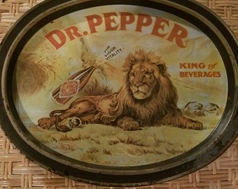 Dr Pepper king of soda beverages tray