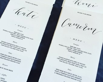 Handwritten calligraphy names on your wedding menu