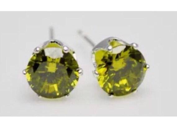 Peridot Olive Green Crystal Stud Earrings Medium Size