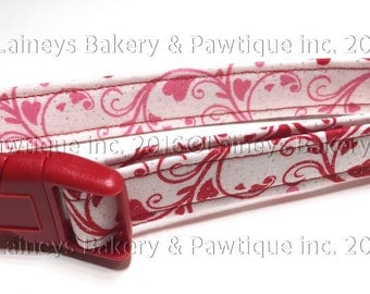 Laineys Pink and Red Swirls and Hearts Material Dog Collar