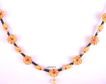 Indian Jewelry, Bridal, Gold necklace, gold flowers, Black thread, necklace