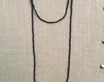 Double wrap black seed bead necklace, wrap beaded necklace, Long black necklace