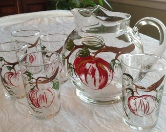 SALE Hand painted Small Juice Ptcher and Glasses