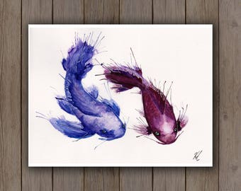 Watercolour Art Print - Koi Fish Swimming / Red Blue Catfish / Splatter Handpainted Watercolor Painting / Asian Inspired