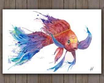 Watercolour Art Print - Koi Fish Swimming / Red Rainbow Tropical Fish / Splatter Handpainted Watercolor Painting / Bright Ocean Art