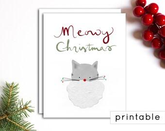 printable christmas card - printable holiday card, cat christmas card, chrismas card printable, unique christmas card, christmas greeting