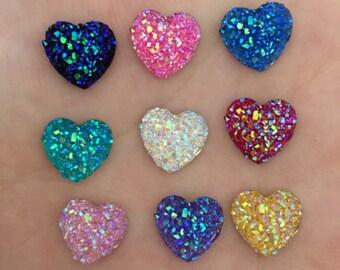 Mixed Hearts, Rhinestone Hearts, Heart Flatbacks, Rhinestone Hearts, Heart Decoden, Sparkly Hearts, Sparkly Flatbacks, Heart Decor,