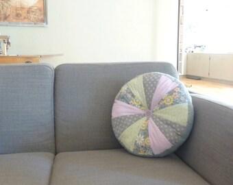 Round throw pillow, fabric throw pillow, tufted throw pillow, cottage chic, home decor, wedding present, housewarming gift, ready to ship