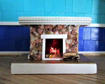 1:12 Dollhouse fireplace, stone fireplace, miniature fireplace, unique fireplace, LED flames, wood and stone fireplace