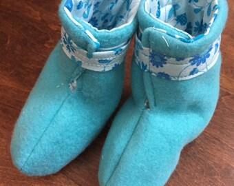 Blue Fleece Baby Booties