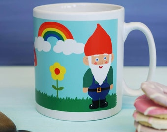 Gnome Mug - Retro Mug - Retro Gnome and Rainbow Mug