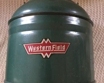 Vintage picnic metal jug thermos camping western field