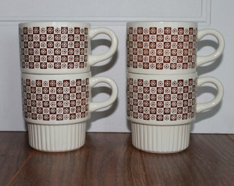 Mid Century Coffee Cup, Brown Vintage Coffee Cup, Set Of 4 Vintage Coffee Cups, Mid Century