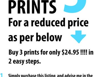 Special offer, buy 2 prints get 1 free offer, buy 2 get 1 FREE, set of 3 prints, choose your favourites