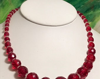 Czech Cherry Red Crystal Bead Necklace