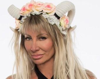 Burning Man Headpiece, Burning man Clothing Women, Burning Man Costumes, Festival Clothing, Horn Headdress, Horn Headpiece, Horn Headband