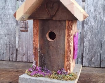 Whimsical Birdhouse, Decorative Birdhouse Gift, Rustic Barn Wood Birdhouse, Wedding Day Gift, Birthday Garden Gift, Natural Bark Birdhouse