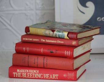 RED Colour Coded Hardcover Books for displays all vintage
