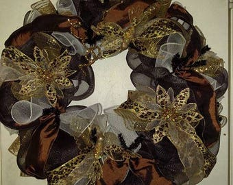 Brown and Gold Leopard Wreath