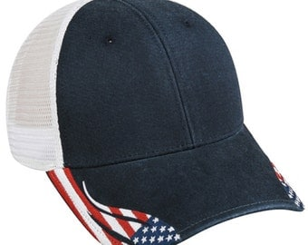 Patriotic Hat / Embroidered Flag Hat / American Flag Hat / Embroidered Visor Hat / Blank Hat / Baseball Hat