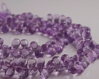 Pink Amethyst Faceted Teardrop Briolettes- 10 beads- 6mm to 7mm, AP5001