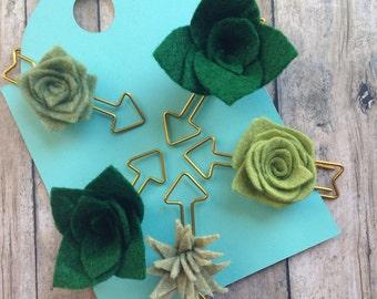 Felt succulent paperclips• Planner clips• Felt succulents