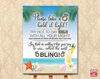 Don't Say Bride, Don't Say Wedding Ring Game, Bling, Printable Bridal Shower Game Beach Theme, Beach Wedding Margarita, Instant Download JPG