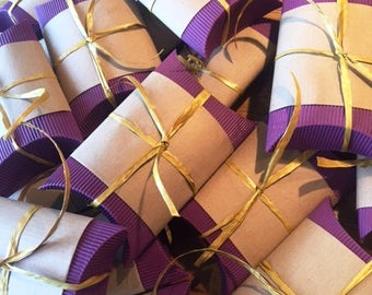 100 x Purple Wedding Party Favour Pillow Boxes containing sweets / candy favors