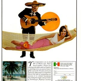 1966 Mexico vintage magazine travel ad wall decor business decor (1701)