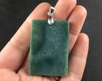 Rectangular Natural Green Jade Stone Pendant Necklace