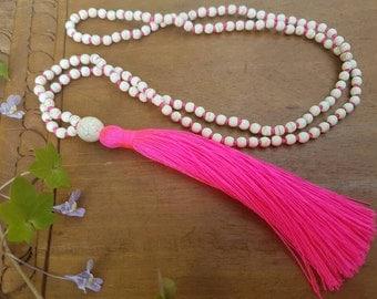 White tassel necklace, bright pink tassel necklace, white bead tassel, white stone tassel necklace, long tassel, neon statement necklace