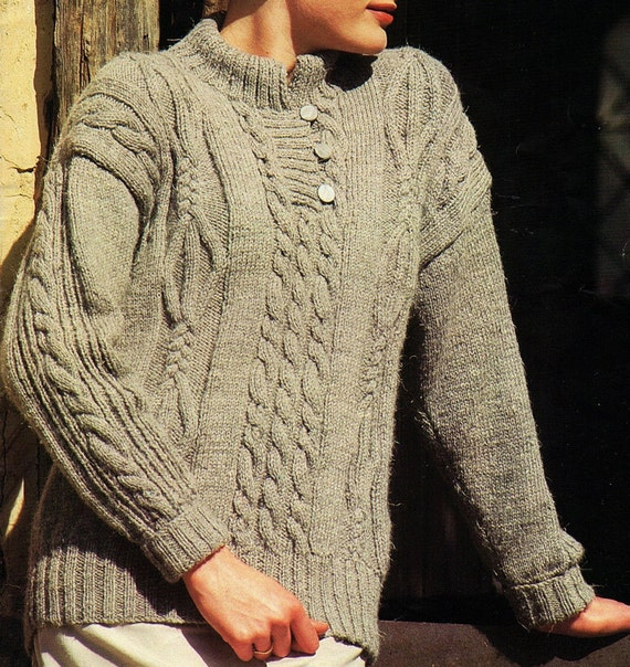 Knitting Pattern For Ladies Cable Sweater : Ladies cable sweater knitting pattern pdf instant