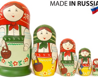 "Russian Nesting Doll - ""Russian Classical"" - MEDIUM SIZE - 5 dolls in 1 - Hand Painted in Russia - Matryoshka Babushka"