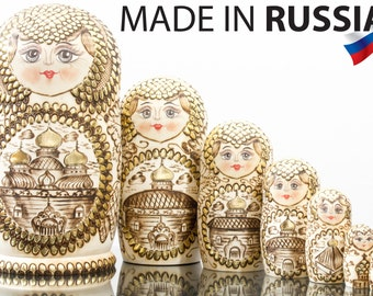 "Russian Nesting Doll - ""Golden Domes of Russia"" - BIG SIZE - 7 dolls in 1 - Hand Painted in Russia - Matryoshka Babushka"