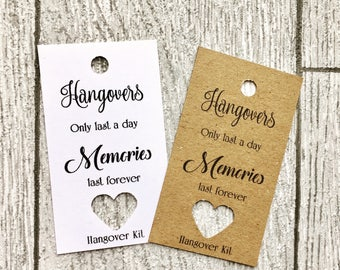Hangover kit tag, weddingtags, stationary , hen party tags goodie bag, hen party bag tags, team bride