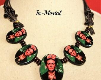 Frida Kahlo Tehuana, Vintage Unique Frida Kahlo Jewelry, Mexican Handmade Necklace, Decoupage Technique,Frida Kahlo Exclusive Necklace