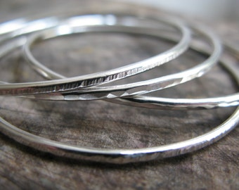 Sterling Silver Skinny Stacking Bangle Bracelets