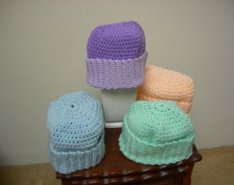 Crochet Warm Adult Hats, Beanies, Blue, Green, Peach, Christmas Gift, Easter Gift, Winter Gift (Purple one no longer available)