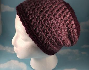 Crochet Slouch Beanie Hat, Winter Hat, Crochet Boho Beanie, Lavender, Maroon