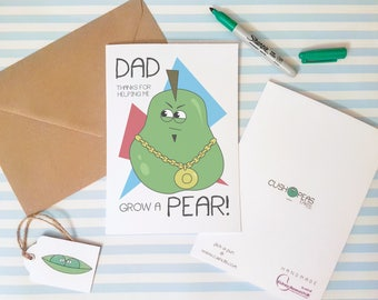 Rude Father's Day Card - Grow a Pear - Puns Dad Jokes - Funny Happy Fathers Day - Thank You Dad - Quirky Alternative Dad Card - Charity Card