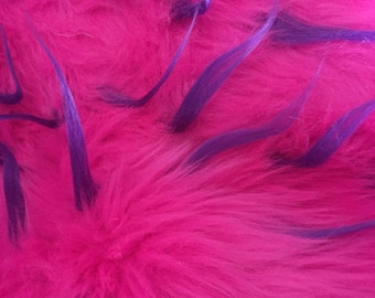 Pink with Purple Spike Fur Fabric